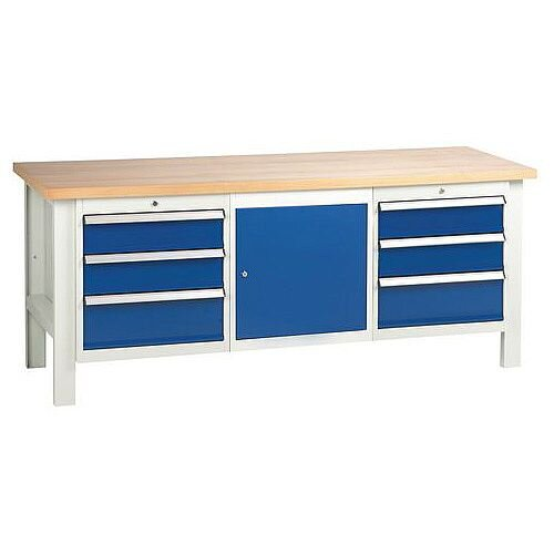 Medium Duty Workbench With 2 Triple Drawer Units And 1 Cupboard H840 x L2000 x D650mm