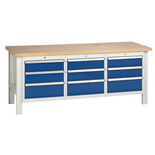 Medium Duty Workbench With 3 Triple Drawer Units H840 x L2000 x D650mm