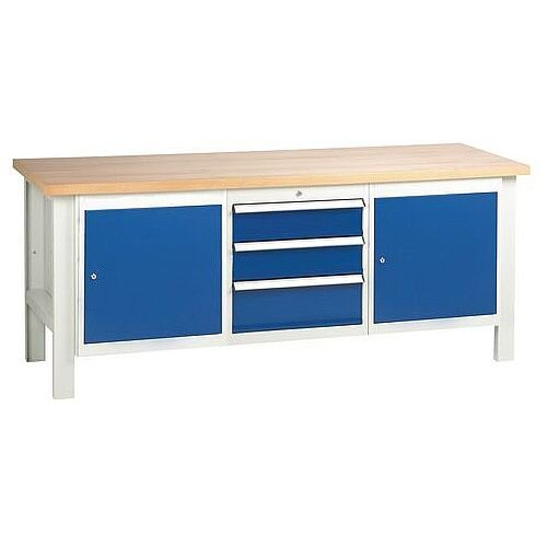 Medium Duty Workbench With 2 Cupboards And 1 Triple Drawer Unit H840 x L2000 x D650mm