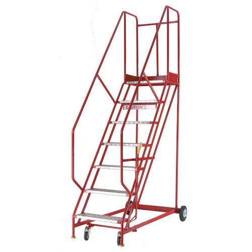 Heavy Duty Warehouse Steps Aluminium 6 Tread Max Height 2.415M Platform Height 1.5M
