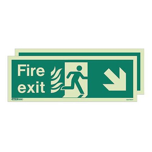 Double Sided Nhs Htm 65 Exit Sign Fire Exit Arrow Down Right HxW 150x400mm