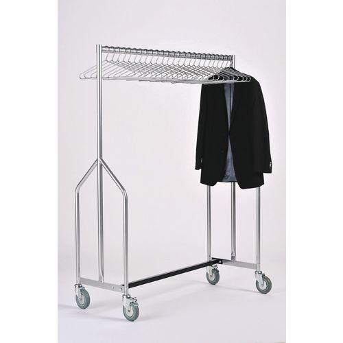 Heavy Duty Garment Rail With 25 Chromed Steel Coat Hangers