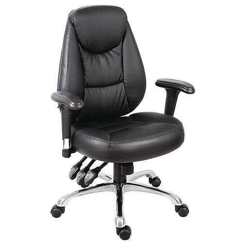 Portland Leather Look Office Chair With 3 Lever Adjustment Mechanism &Arms Black