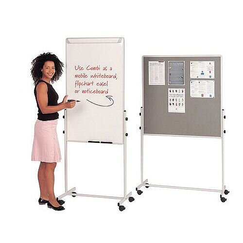 Mobile Flip Chart Combination Unit With Whiteboard And Felt Noticeboard Combi Noticeboard 1200X700mm