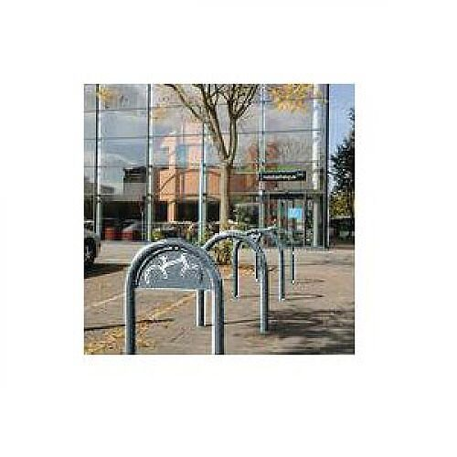 Sheffield Style Cycle Rack With Sign Galvanised silver