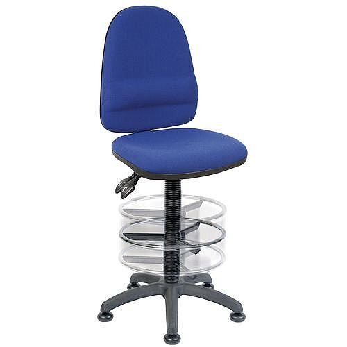 High Back Deluxe Draughter Chair With Lumbar Support &Adjustable Foot Ring H570 - 850mm Black