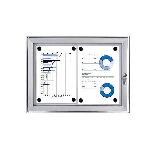 Economy Indoor/Outdoor Lockable Magnetic Noticeboard 2xA4