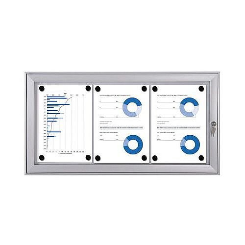 Economy Indoor/Outdoor Lockable Magnetic Noticeboard 3xA4