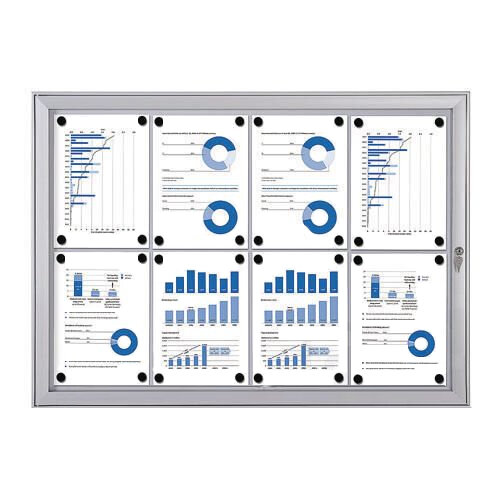 Economy Indoor/Outdoor Lockable Magnetic Noticeboard 8xA4