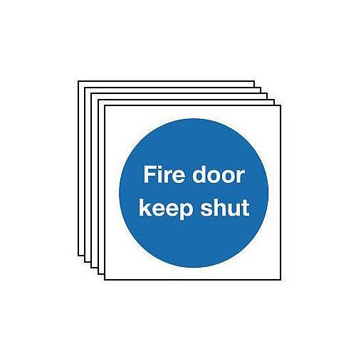 Self Adhesive Vinyl Fire Door Keep Shut Sign Pack of 5