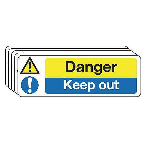 Self Adhesive Vinyl Contruction And General Hazards Sign Danger Keep Out Pack of 5