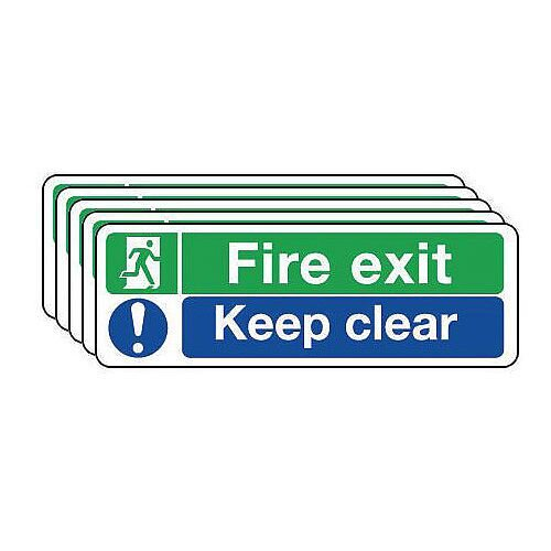 Self Adhesive Vinyl Fire Exit Sign Keep Clear Sign Pack of 5