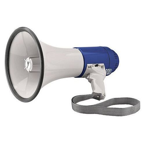 25W Megaphone - Built In Microphone, A Switchable Siren, Acoustic Signal, A Volume Controller, Pistol Grip With Strap &Ideal For Fire Marshals/Wardens (392788)