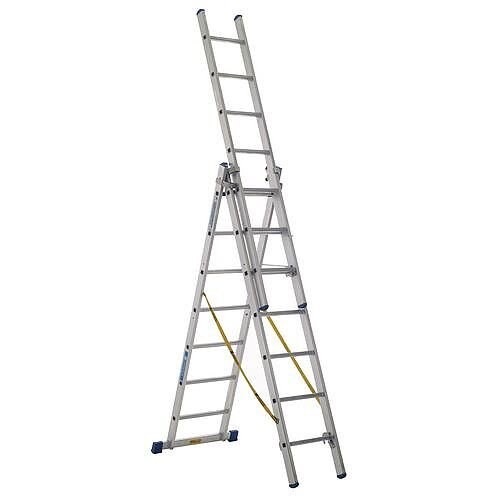EN-131 Skymaster Large 3 Section Transformable 10 Rung Ladder Extended Height 6.9M Closed Height 3M