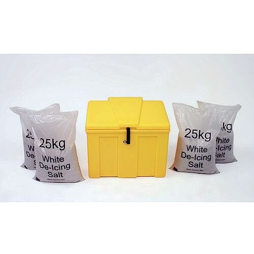 Heavy Duty Lockable 110L Midi Salt And Grit Bin &4x25Kg Bags White De-Icing Salt