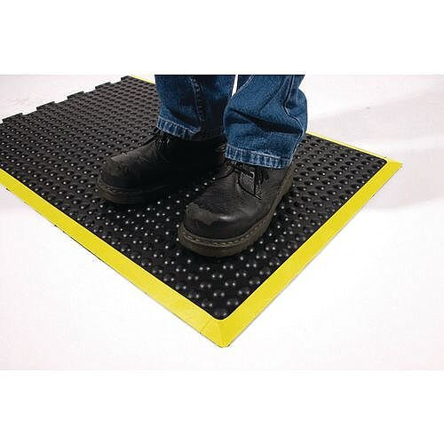 Bubblemat With Yellow Edge Interlocking End Tile 0.9M X 1.2M
