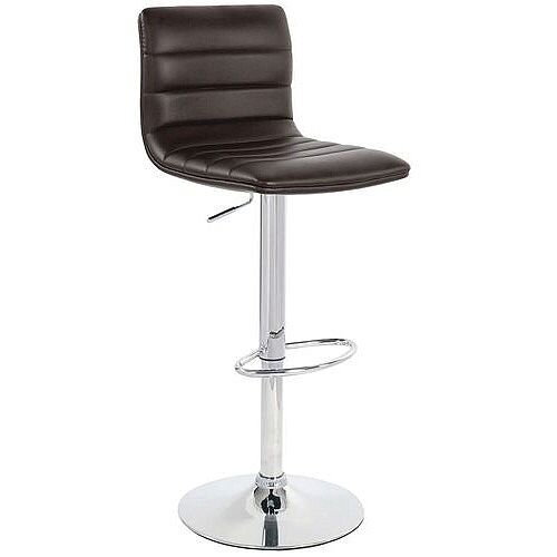 Leather Bar Stool With Back Support Brown
