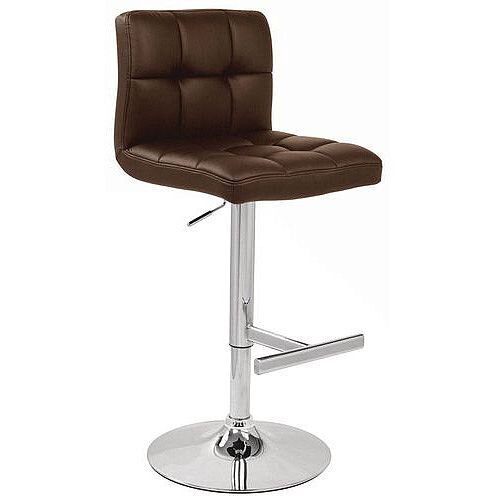 Tall Back Leather Bar Stool Brown