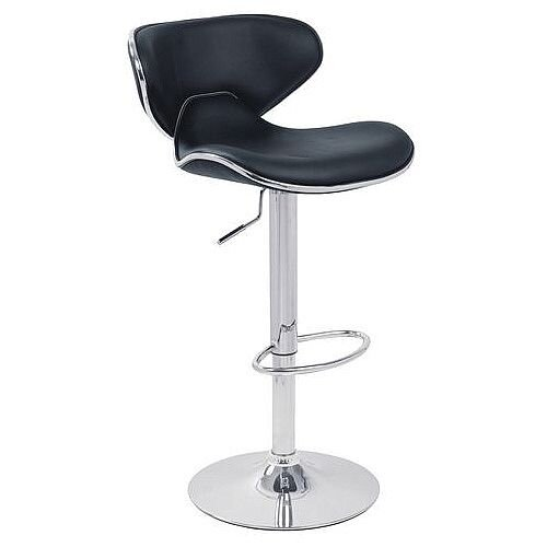 Curved Leather Bar Stool Black