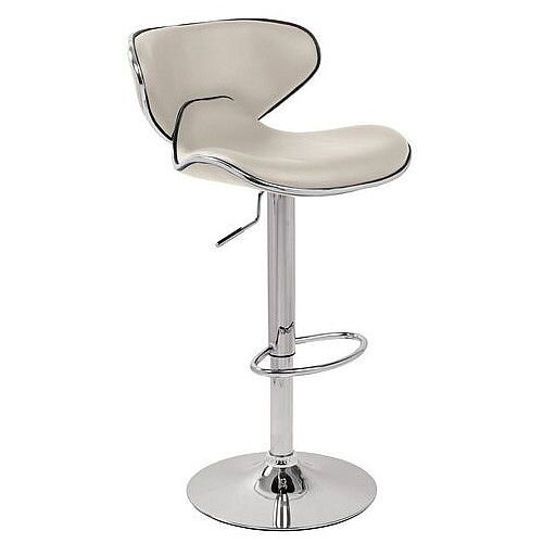 Curved Leather Bar Stool White