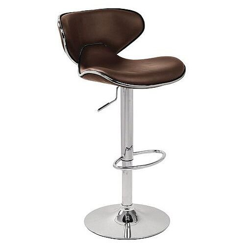 Curved Leather Bar Stool Brown