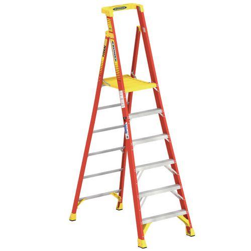 Podium Glassfibre 6 Tread Step ladder Height To Platform 1.83M Capacity 136Kg