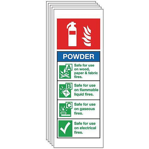 Self Adhesive Vinyl Dry Powder Extinguisher Sign Multi-Pack of 5