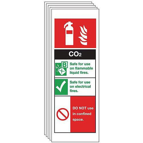 Self Adhesive Vinyl Co2 Extinguisher Sign Multi-Pack of 5