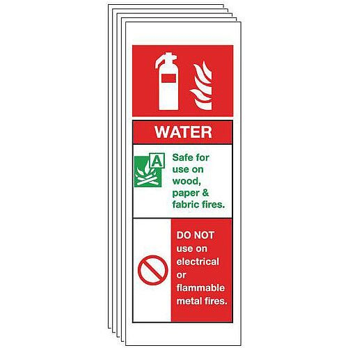Self Adhesive Vinyl Water Extinguisher Sign Multi-Pack of 5
