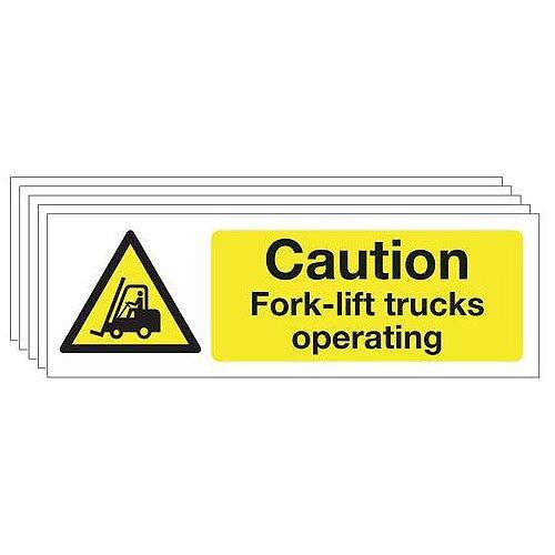 Self Adhesive Vinyl Caution Fork-Lift Trucks Warning Sign Multi-Pack of 5