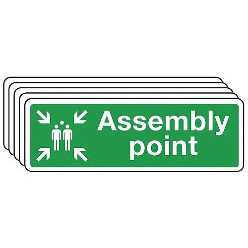 Self Adhesive Vinyl Assembly Point Sign Multi-Pack of 5 H150mm x W450mm Ref SY396462