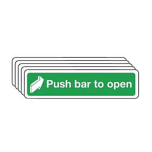 Self Adhesive Vinyl Push Bar To Open Sign Pack of 5