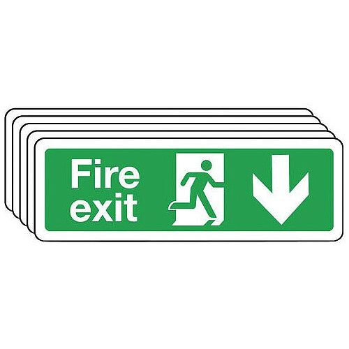 Self Adhesive Vinyl Fire Exit Arrow Down Sign Multi-Pack of 5