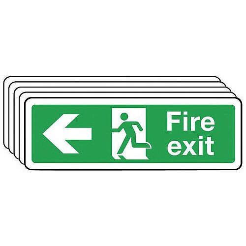 Self Adhesive Vinyl Fire Exit Arrow Left Sign Multi-Pack of 5