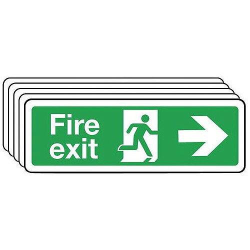 Rigid PVC Plastic Fire Exit Arrow Right Sign Multi-Pack of 5 H x W mm: 100 x 300