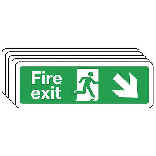 Self Adhesive Vinyl Fire Exit Arrow Down Right Sign Multi-Pack of 5