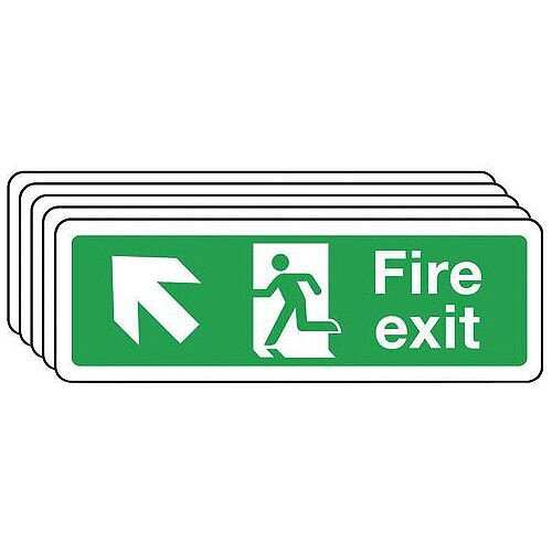 Self Adhesive Vinyl Fire Exit Arrow Up Left Sign Multi-Pack of 5