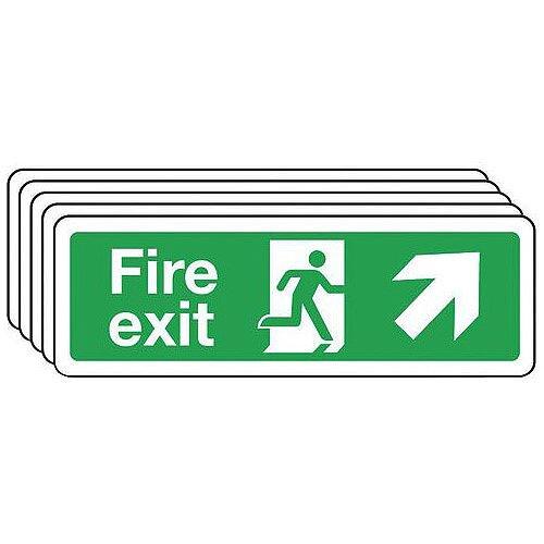 Rigid PVC Plastic Fire Exit Arrow Up Right Sign Multi-Pack of 5 H x w mm: 100 x 300