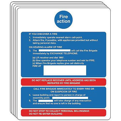 Rigid PVC Plastic Fire Action Notice Sign For Buildings Without Lifts Pack of 5