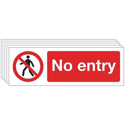 Rigid PVC Plastic General Prohibition Sign No Entry Pack of 5
