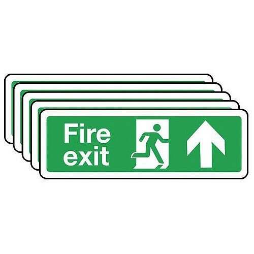 Rigid PVC Plastic Fire Exit Arrow Up Sign Multi-Pack of 5 H x W mm: 100 x 300