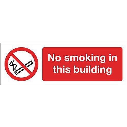Self Adhesive Vinyl Smoking Prohibition Sign No Smoking In This Building