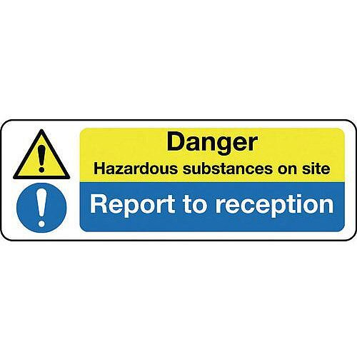 Self Adhesive Vinyl Multi-Purpose Hazard Sign Danger Hazardous Substances On Site Report To Reception