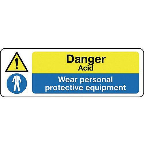 Self Adhesive Vinyl Multi-Purpose Hazard Sign Danger Acid Wear Personal Protective Equipment