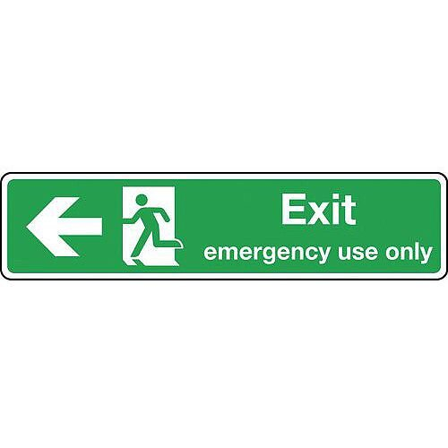 Self Adhesive Vinyl Exit Emergency Use Only Arrow Left Slimline Sign