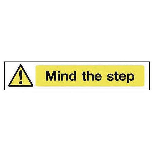 Self Adhesive Vinyl Overhead Hazard And Warning Sign Mind The Step