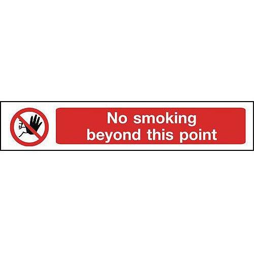 Self Adhesive Vinyl Overhead Hazard And Warning Sign No Smoking Beyond This Point