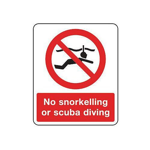 PVC National Water Safety Sign No Snorkelling Or Scuba Diving