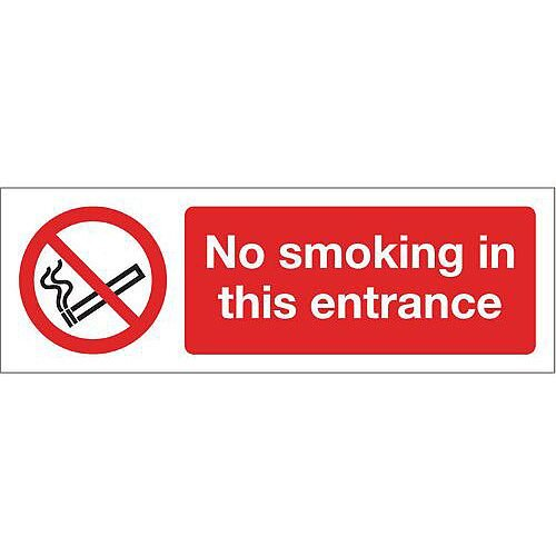 PVC Smoking Prohibition Sign- No Smoking In This Entrance
