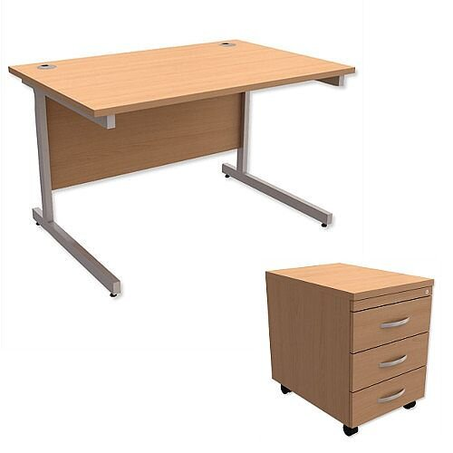 Office Desk Rectangular Silver Legs W1200mm With Mobile 3-Drawer Pedestal Beech Ashford
